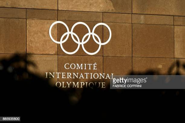 The logo of the International Olympic Committee is pictured at its headquarters in Pully near Lausanne prior to an executive meeting on December 5...