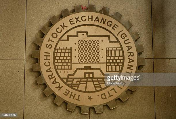 The logo of the Karachi Stock Exchange is displayed in Karachi Pakistan on Monday June 25 2007 Pakistan's stocks may fall after television reports...