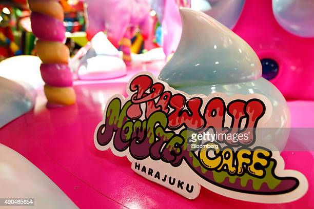 The logo of the Kawaii Monster Cafe operated by Diamond Dining Co is displayed at the entrance to the restaurant in the Harajuku area of Tokyo Japan...