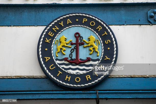 The logo of the Kenya Ports Authority stands by Mombasa port managed by the Kenya Ports Authority in Mombasa Kenya on Thursday Nov 23 2017 The...