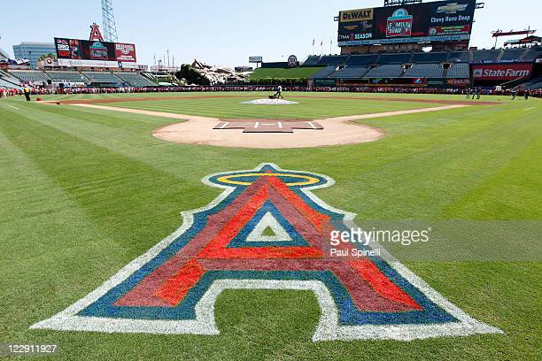 The logo of the Los Angeles Angels of Anaheim is painted on the grass in this general view of the stadium during the game against the Seattle...