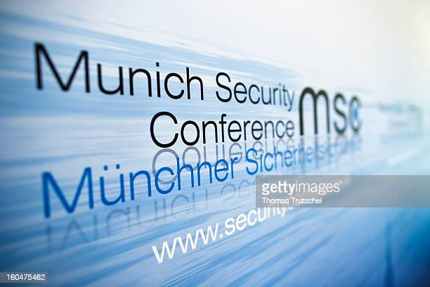 The Logo of the Munich Security Conference is pictured on day 1 of the 49th Munich Security Conference at Hotel Bayerischer Hof on February 1 2013 in...