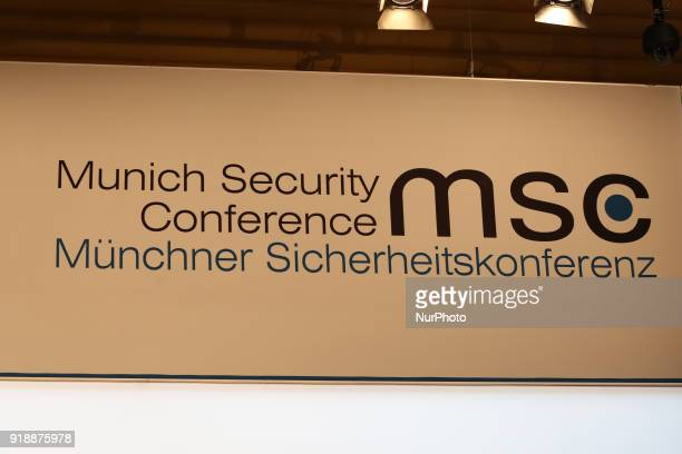 The logo of the Munich Security conference is seen in the picture in Munich Germany on February 15 2018 Today the first panel of the Munich Security...