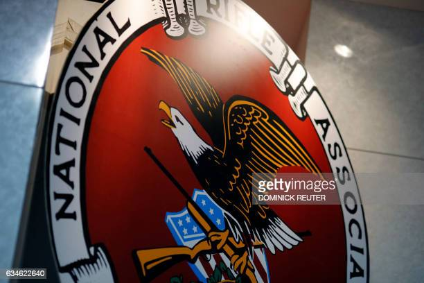 The logo of the National Rifle Association is seen at an outdoor sports trade show on February 10 2017 in Harrisburg Pennsylvania The Great American...