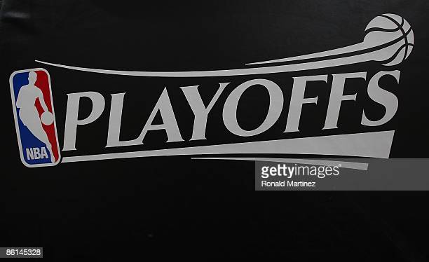 The logo of the NBA Playoffs logo after play between the Dallas Mavericks and the San Antonio Spurs in Game One of the Western Conference...