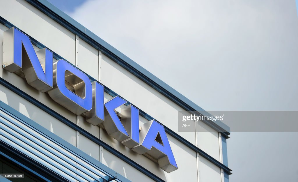 The logo of the Nokia research center in : News Photo
