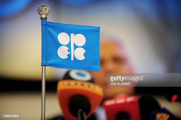 The logo of the of the Organization of the Petroleum Exporting Countries is displayed as Secretary General Abdalla Salem ElBadri speaks during OPEC's...