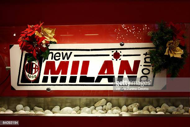 The logo of the official AC Milan Store on December 19 2008 in Milan Italy David Beckham will join AC Milan on loan from Los Angeles Galaxy on...