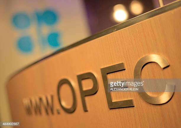 The logo of the OPEC is seen on the eve of the 164th OPEC meeting in Vienna Austria on December 3 2013 Iran will 'immediately' export more crude oil...