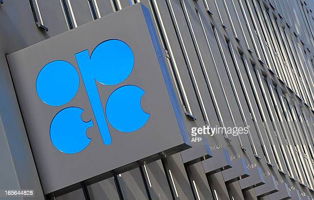 The logo of the Organization of the Petroleum Exporting Countries is seen at the headquarters building in Vienna on April 4 2013 During an oil...