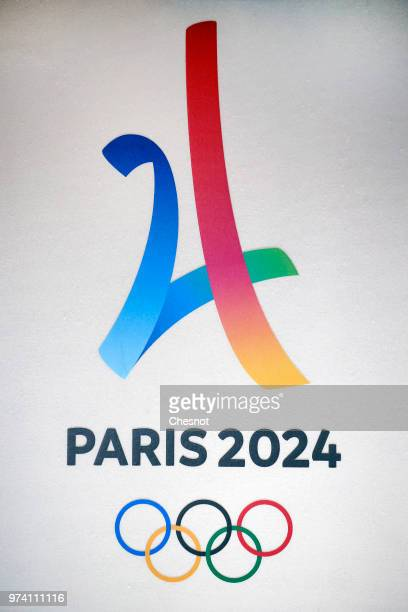 The logo of the Paris 2024 Summer Olympics is seen during the signing of the 2024 Olympic and Paralympic Games Organizational Protocol at the Paris...
