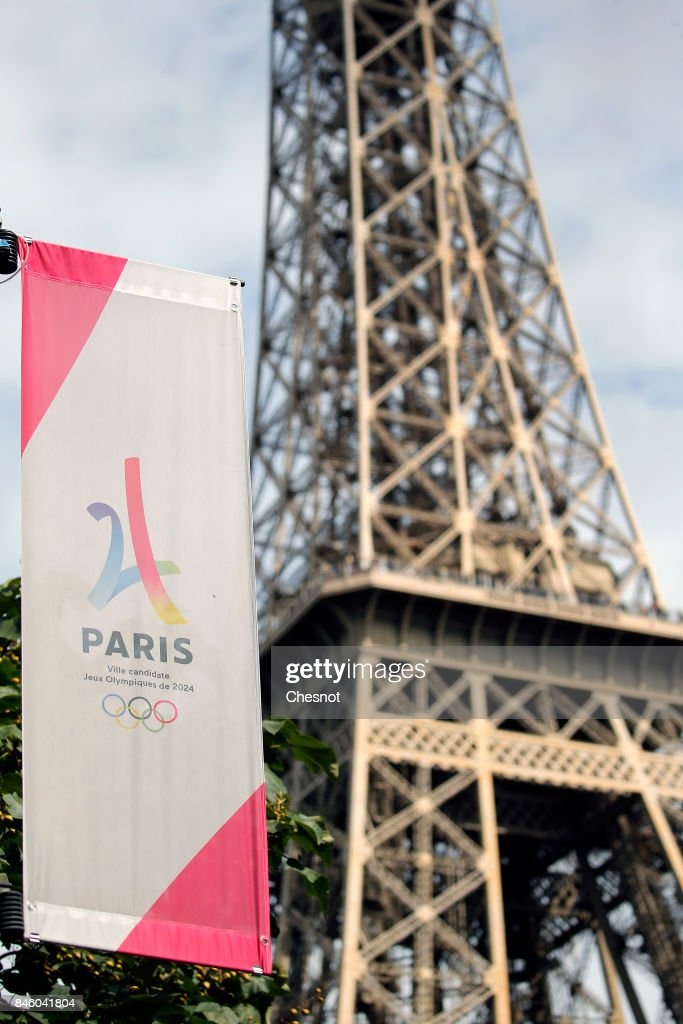 The logo of the Paris candidacy for the 2024 Olympic Games is seen in front of the Eiffel tower on September 12, 2017 in Paris, France. For the first time in history, International Olympic Committee (IOC) confirms two summer Games host cities at the same time, Paris will host the Olympic Games in 2024 and Los Angeles in 2028. The official announcement by the IOC will take place tomorrow September 23 in Lima, Peru.