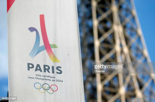 The logo of the Paris candidacy for the 2024 Olympic Games is seen in front of the Eiffel tower on September 12 2017 in Paris France For the first...