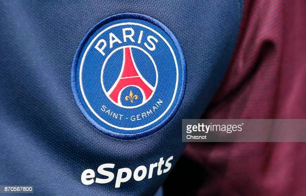 The logo of the Paris SaintGermain eSports team is displayed on the Lucas Cuillerier jersey as he competes in the final of the video game 'FIFA 18'...