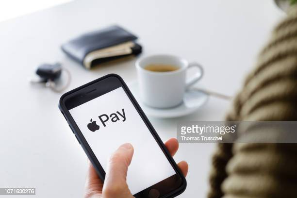 The logo of the payment system Apple Pay is displayed on a smartphone on December 11 2018 in Berlin Germany