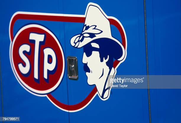 The logo of the Petty Enterprises racing team featuring a portrait of racing driver Richard Petty and the logo of sponsor STP at the California 500...