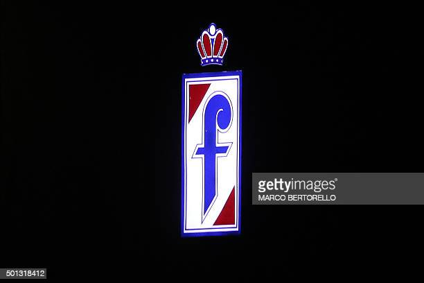 The logo of the Pininfarina design company is pictured outside Pininfarina Factory in Cambiano near Turin on December 14 2015 / AFP / MARCO BERTORELLO