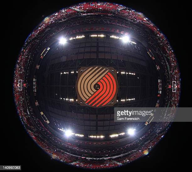 The logo of the Portland Trail Blazers on the bottom of the jumbotron prior to the game against the Minnesota Timberwolves on March 3 2012 at the...