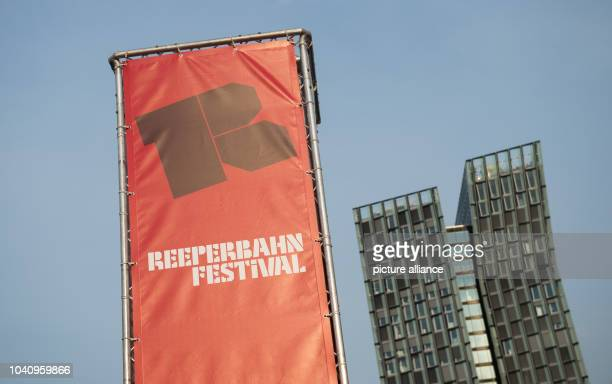The logo of the Reeperbahn Festival is seen at Spielbudenplatz public square in front of the so-called dancing towers in Hamburg, Germany, 22...