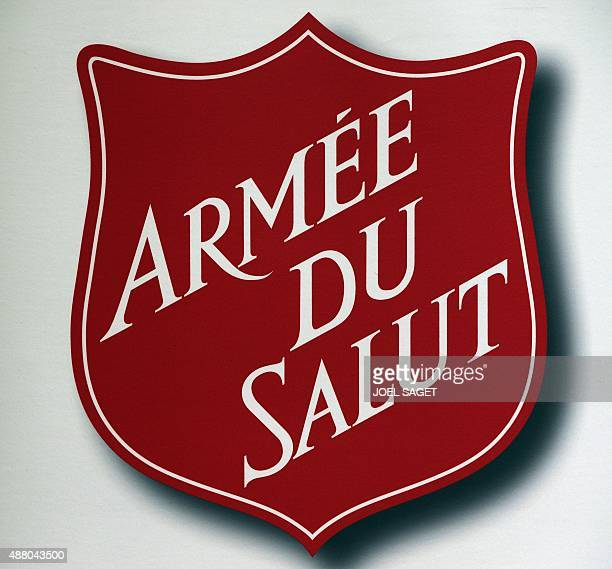 The logo of the Salvation Army is seen on September 13 2015 during a ceremony in Paris to celebrate the 150th birthday of the charitable organization...