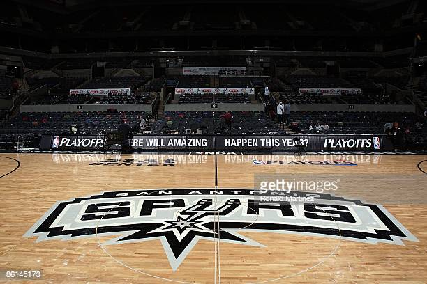 The logo of the San Antonio Spurs in Game One of the Western Conference Quarterfinals during the 2009 NBA Playoffs at ATT Center on April 18 2009 in...
