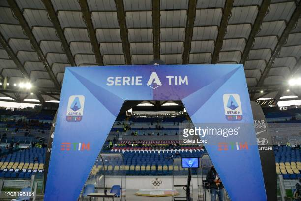 The logo of the Serie A before the Serie A match between AS Roma and US Lecce at Stadio Olimpico on February 23, 2020 in Rome, Italy.