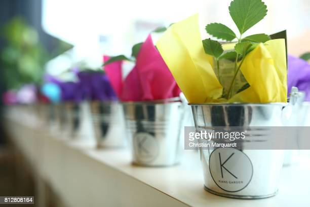 The logo of the shop pictured during the 'Kians Garden Flower Shop' Opening Event at Kantstrasse on July 11 2017 in Berlin Germany