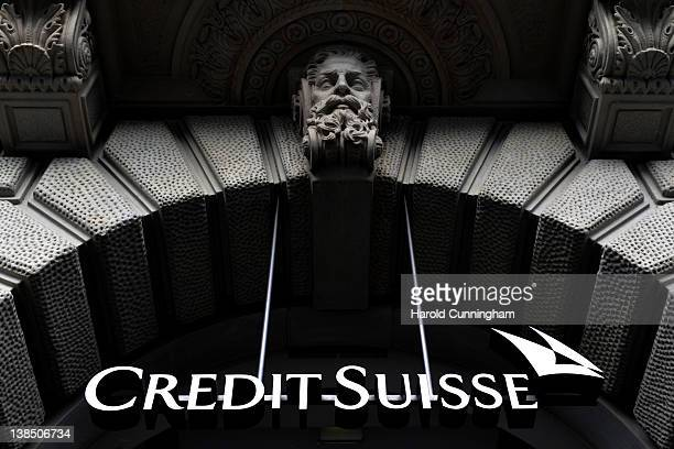 The logo of the Swiss bank Credit Suisse sits at the entrance their headquarters on February 7 2012 in Zurich Switzerland