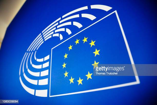 The logo of the The European Parliament on January 15 2019 in Strasbourg France