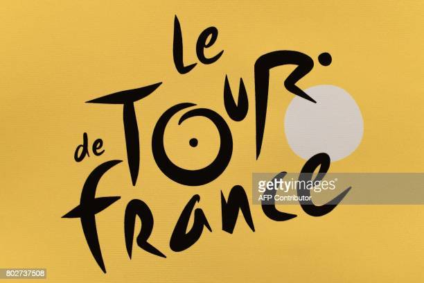 The logo of the Tour de France cycling race is pictured in Dusseldorf Germany on June 28 three days before the start of the 104th edition of the Tour...