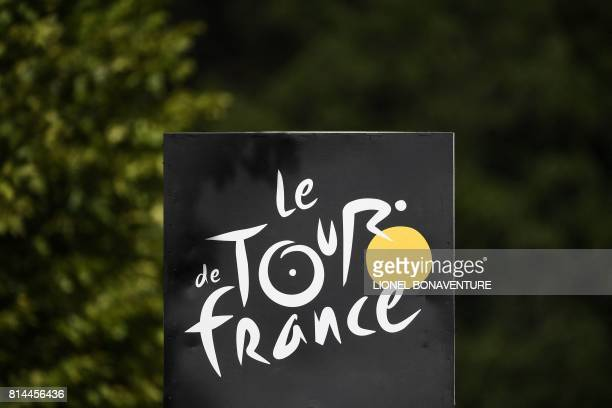 The logo of the Tour de France is pictured at the finish line during the 101 km thirteenth stage of the 104th edition of the Tour de France cycling...