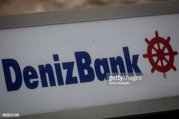 The logo of the Turkish bank DenizBank is seen on December 1 2017 in Istanbul Turkey The trial of Mr Reza Zarrab an IranianTurk who ran a foreign...