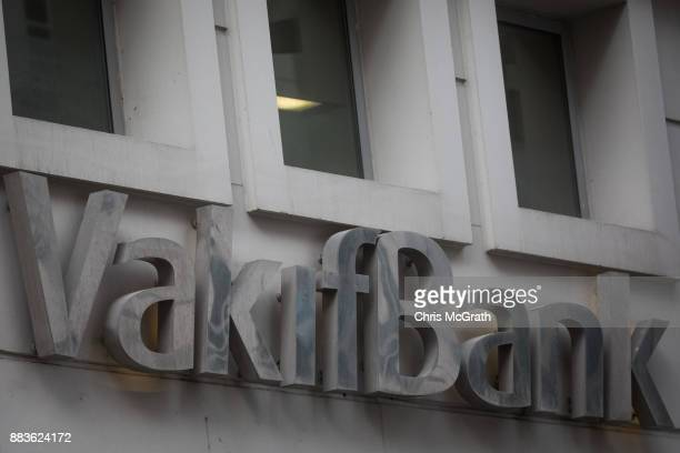 The logo of the Turkish bank VakifBank is seen on December 1 2017 in Istanbul Turkey The trial of Mr Reza Zarrab an IranianTurk who ran a foreign...