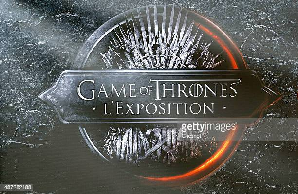 The logo of the TV serie 'Games of Thrones' is displayed during the opening of an exhibition dedicated to HBO's television medieval fantasy series...