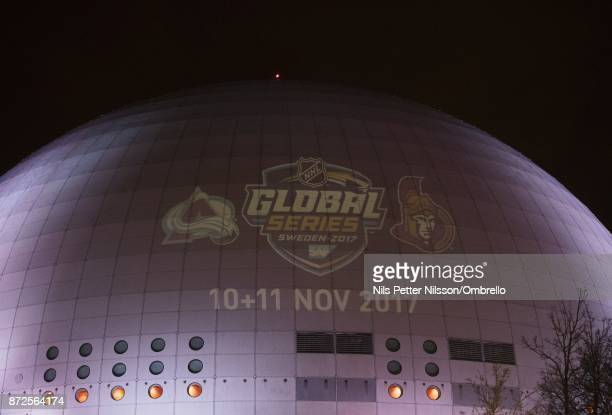 The logo of the two teams is projected on the arena ahead of the 2017 SAP NHL Global Series match between Ottawa Senators and Colorado Avalanche at...