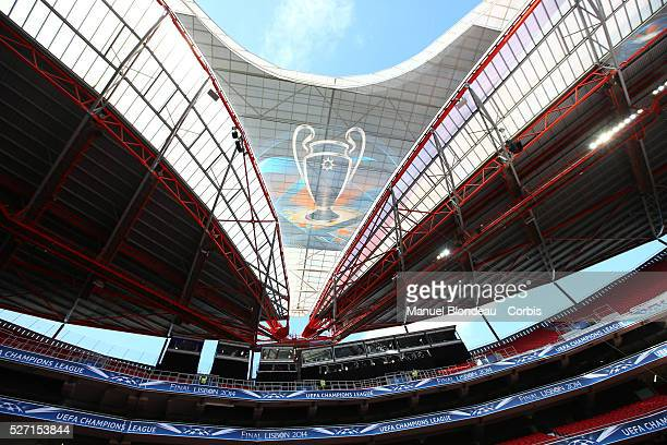 The Logo of the UEFA Champions League is pictured prior to the training session ahead of the UEFA Champions League Final between Real Madrid CF and...
