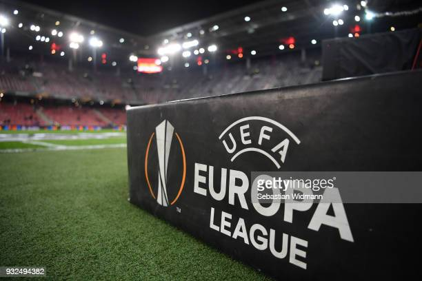 The logo of the UEFA Europa League is seen prior to the UEFA Europa League Round of 16 match between FC Red Bull Salzburg and Borussia Dortmund at...