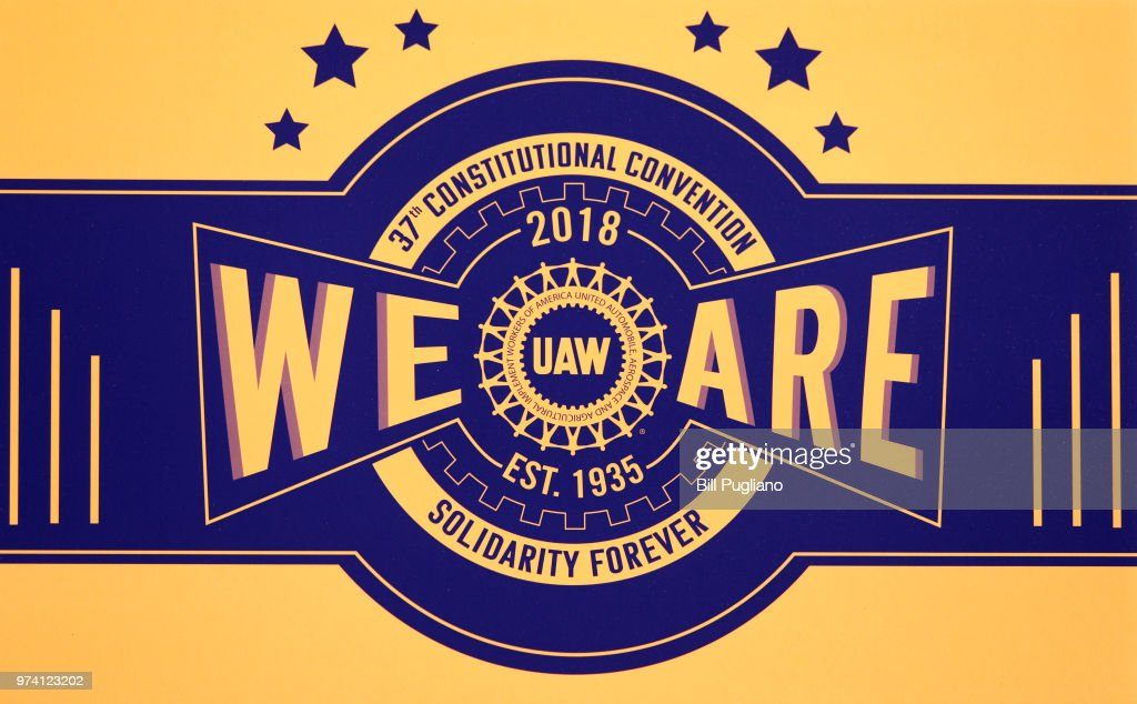 The logo of the United Auto Workers (UAW) 37th Constitutional Convention is shown June14, 2018 at Cobo Center in Detroit, Michigan. Gary Jones, the newly-elected UAW President, will address the convention today. Jones was formerly the Director of UAW Region 5. The outgoing President is Dennis Williams, who served one term and was elected in 2014.