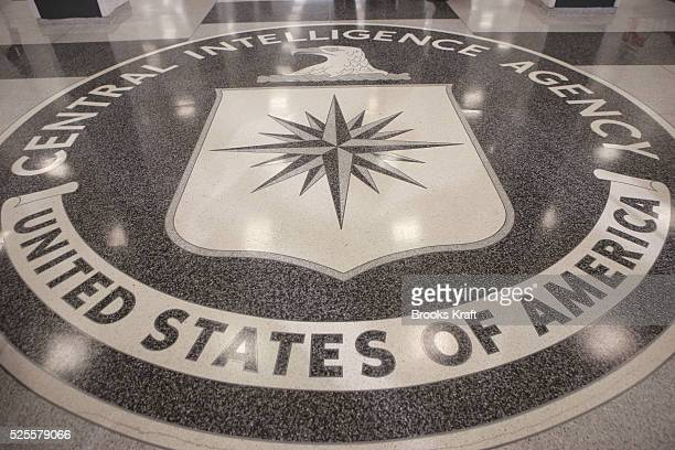 The logo of the US Central Intelligence Agency is shown in the lobby of the CIA headquarters in Langley Virginia March 3 2005 US President George W...