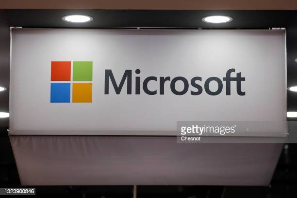 The logo of the U.S. Multinational computer and microcomputer, founded in 1975 by Bill Gates and Paul Allen Microsoft Corporation on display during...