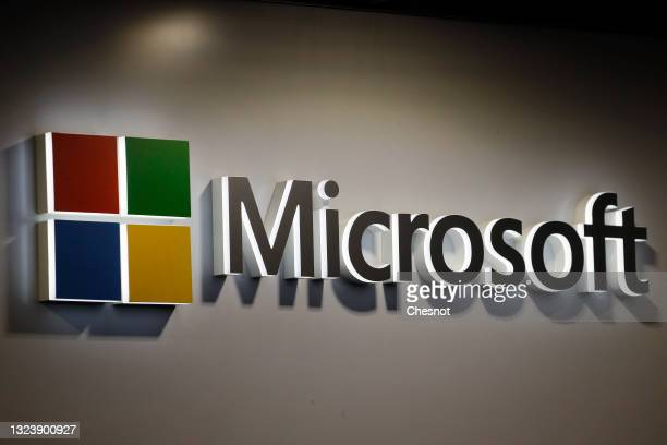 The logo of the U.S. Multinational computer and microcomputer, founded in 1975 by Bill Gates and Paul Allen, Microsoft Corporation on display during...