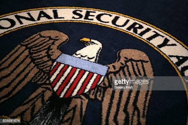 The logo of the US National Security Agency is seen during a visit by US President George W Bush to the agency's installation in Fort Meade Maryland...