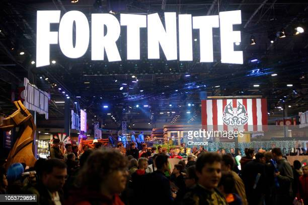 The logo of the video game 'Fortnite' developed by Epic Games is displayed during the 'Paris Games Week' on October 26 2018 in Paris France 'Paris...