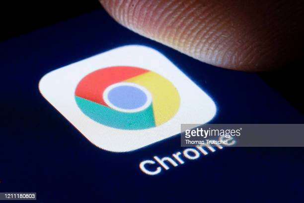 The logo of the webbrowser Google Chrome is shown on the display of a smartphone on April 22, 2020 in Berlin, Germany.