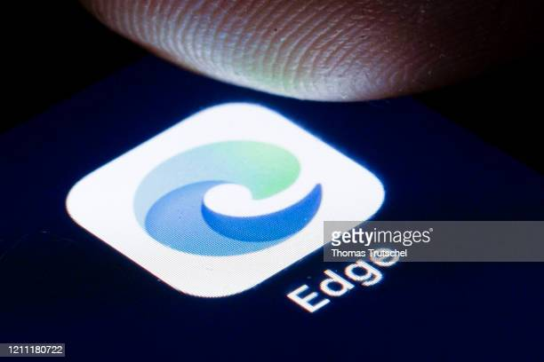 The logo of the Webbrowser Microsoft Edge is shown on the display of a smartphone on April 22, 2020 in Berlin, Germany.