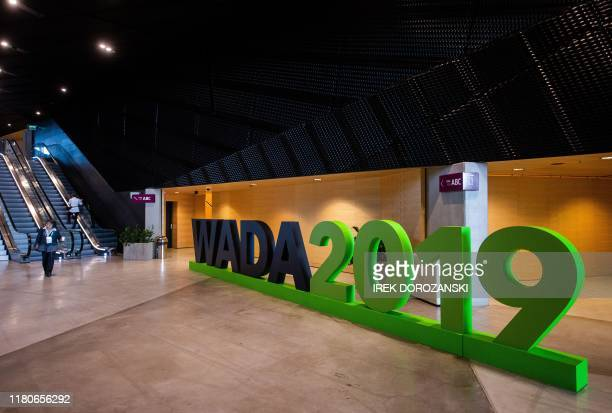 The logo of the World Anti-Doping Agency is seen in Katowice, Poland, on November 7, 2019.