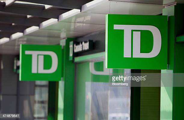 The logo of TorontoDominion Bank is displayed outside a Canada Trust branch in Vancouver British Columbia Canada on Tuesday Feb 25 2014...