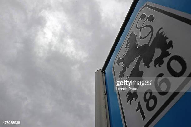The logo of TSV 1860 Muenchen is pictured in front of the cloudy sky on June 22 2015 in Munich Germany