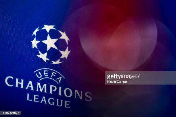The logo of UEFA Champions League is pictured during Ajax Amsterdam press conference on the eve of the UEFA Champions League football match between...