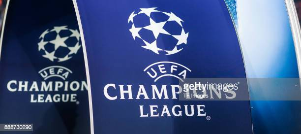 The Logo of UEFA Champions League is seen during the UEFA Champions League group B match between Bayern Muenchen and Paris SaintGermain at Allianz...
